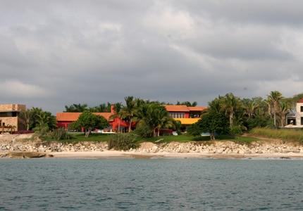 A view of homes along the coast of Punta Mita