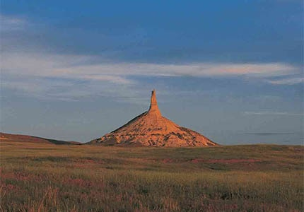 Chimney Rock in the Panhandle region of Nebraska