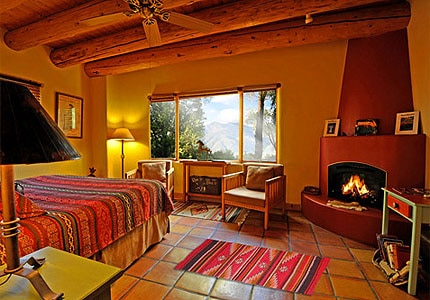 A guest room at Hacienda del Sol in Taos, New Mexico