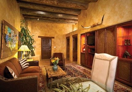 A guest room at El Monte Sagrado in Taos, New Mexico