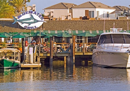 Dock and dine at the Bluewater Grill in Newport Beach, California