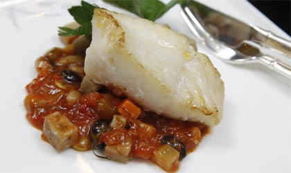 Seared halibut, lemongrass minestrone, taro cake by Café Gray Deluxe, part of Cathay Pacific's new in-flight menu