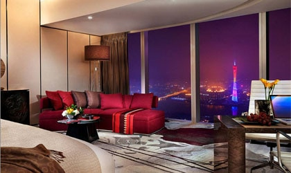View from a guest room at Four Seasons Hotel Guangzhou, which claims the top third of the 103-storey IFC Guangzhou