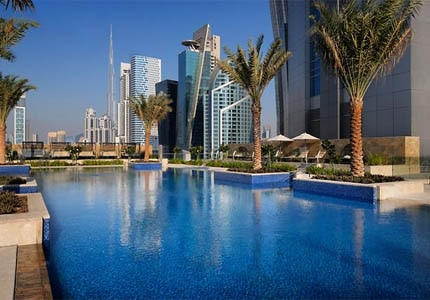 The outdoor pool at JW Marriott Marquis Hotel Dubai in United Arab Emirates