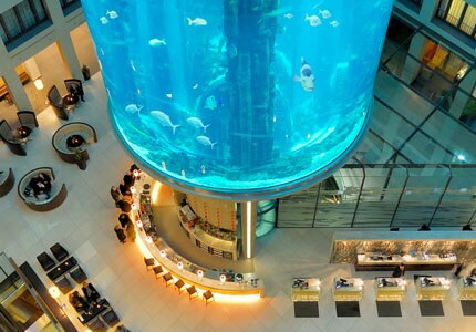The AquaDom at Radisson Blu Hotel, Berlin holds 1,500 fish