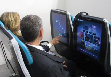 Thales' latest airplane design is extra large, portrait-oriented screens for passengers' viewing pleasure