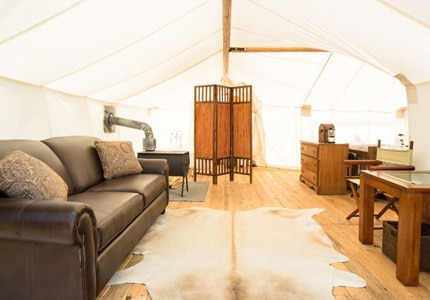 A suite tent from Under Canvas Eco Safari Resort at Grand Canyon National Park