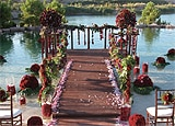 The setting for a wedding ceremony at The Ritz-Carlton, Lake Las Vegas