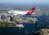 The Qantas A380 over Sydney Harbour