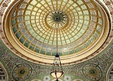 The world's largest Louis Comfort Tiffany art glass dome, located in the Chicago Cultural Center's Preston Bradley Hall