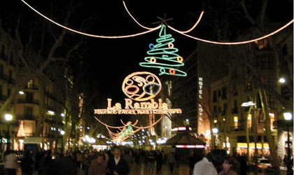 New Year's Eve on La Rambla in Barcelona, Spain