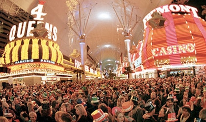 The Fremont Street Experience on New Year's Eve in Las Vegas, Nevada