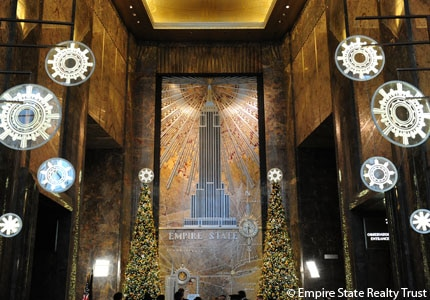 Holiday decorations in the Art Deco lobby at the Empire State Building in New York City