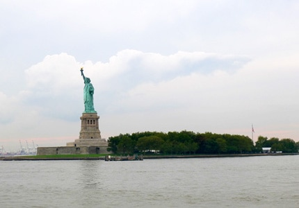 The Statue of Liberty in New York is a major tourist attraction