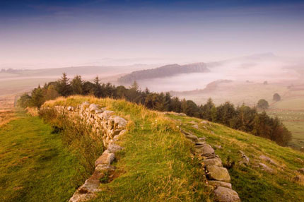 View towards Steel Rigg from Hadrian's Wall in Northumbria