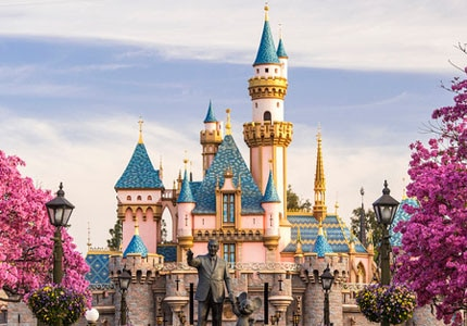 Disneyland's iconic white and blue Sleeping Beauty's Castle