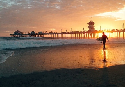 Huntington Beach, California, is popular with surfers