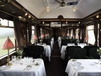 One of three restaurant cars on the Venice Simplon Orient-Express train