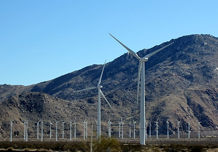 Windmills are an ubiquitous sight in the area surrounding Palm Springs