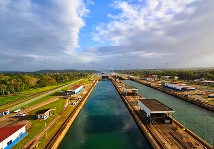 The Panama Canal, a 48-mile ship canal that connects the Atlantic Ocean (via the Caribbean Sea) to the Pacific Ocean