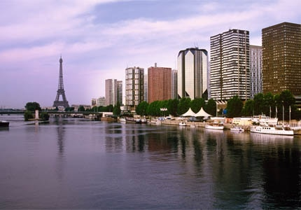 The Seine waterfront and Eiffel Tower in Paris, France