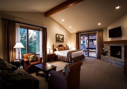 A guest room at the Stein Eriksen Lodge in Park City, Utah