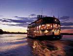 A cruise boat on the Amazon