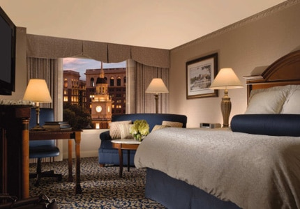 A guest room at The Franklin Hotel at Independence Park in Philadelphia, Pennslyvania