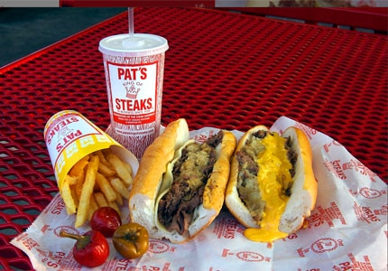Savor a meal at Pat's King of Steaks in Philadelphia, Pennslyvania
