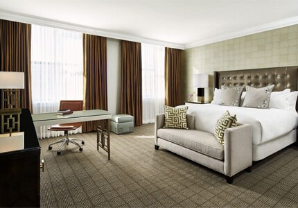 A guest room at the Ritz-Carlton, Philadelphia