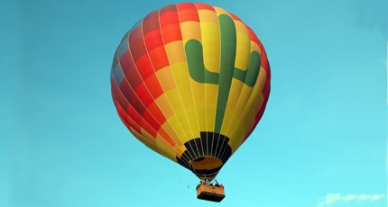 A hot air balloon ride high above Arizona