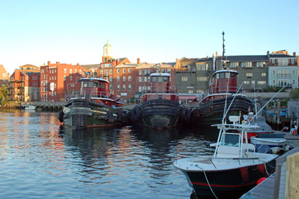 Tugboats in harbor in Portsmouth, New Hampshire