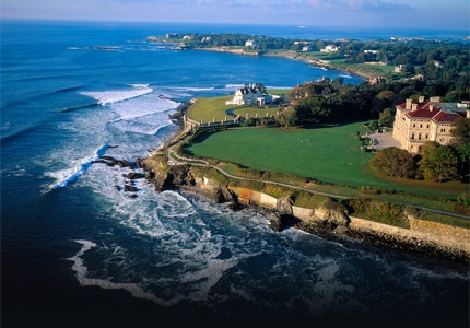 The Newport Cliff Walk in Rhode Island is a popular tourist attraction