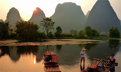 The picturesque karst peaks of China's Guangxi Province, one of GAYOT's Top Romantic Destinations