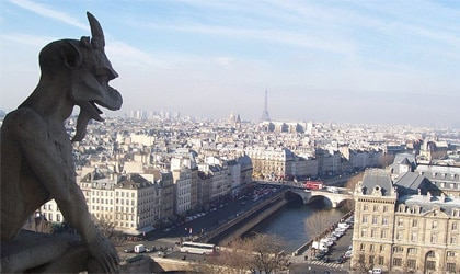 View from Notre Dame Cathedral in Paris, France