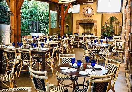 The outdoor patio at Lucca in Sacramento, California