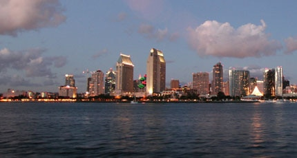 San Diego skyline at dusk