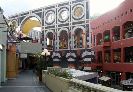 Colorful Horton Plaza mall in the Gaslamp District