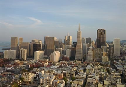 The San Francisco skyline view from Coit Tower