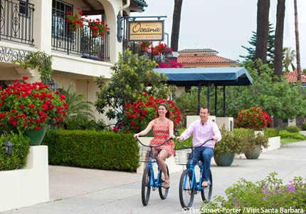 Enjoy sight-seeing around Santa Barbara, California, by bicycle