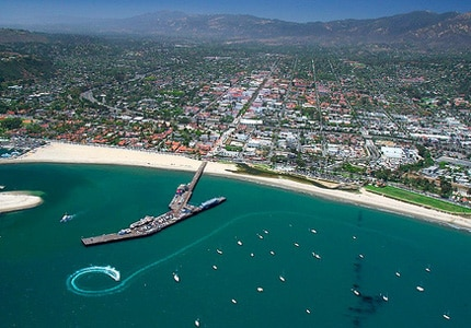 A bird's-eye view of Stearns Wharf in Santa Barbara, California