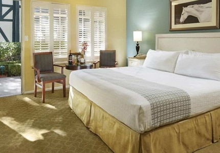 A guest room at Wine Vally Inn & Cottages in Solvang, California