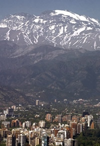 Santiago below the Andes