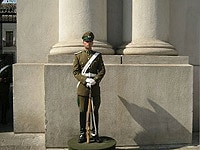 A soldier stands guard at La Moneda