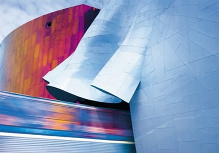 The EMP Building is made up of over 21,000 aluminum and stainless steel shingles and 280 steel ribs