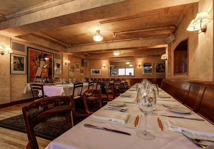 The dining room at Café Campagne in Seattle, Washington