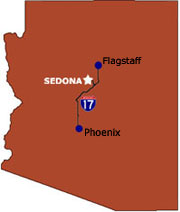 Sedona, famous for its red rock formations, is located in between Phoenix and Flagstaff
