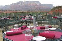 The patio at Shugrue's Hillside Grill offers spectacular views