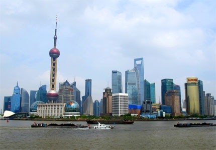 The Shanghai skyline during the day