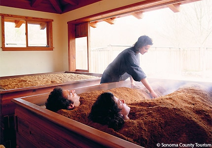 The cedar enzyme bath at Osmosis Day Spa Sanctuary in Sonoma County, California